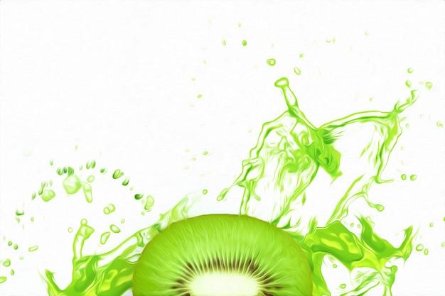 Divida kiwi em um pouco de suco