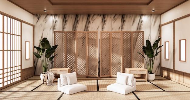 Divisória japonesa no interior tropical do quarto com piso de tatame e parede de ladrilhos de ganite