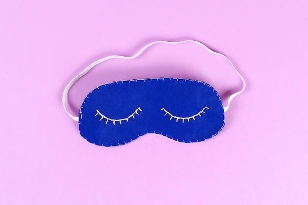 Diy azul sentiu a máscara do sono com fio branco bordado
