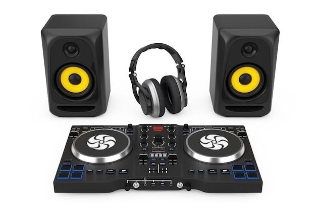 Dj mixing turntable com alto-falantes e fone de ouvido em um fundo branco. renderização 3d