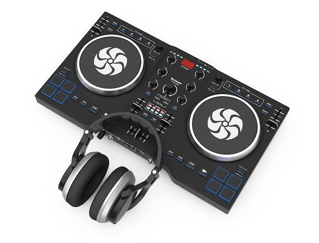 Dj mixing turntable com fones de ouvido em um fundo branco. renderização 3d