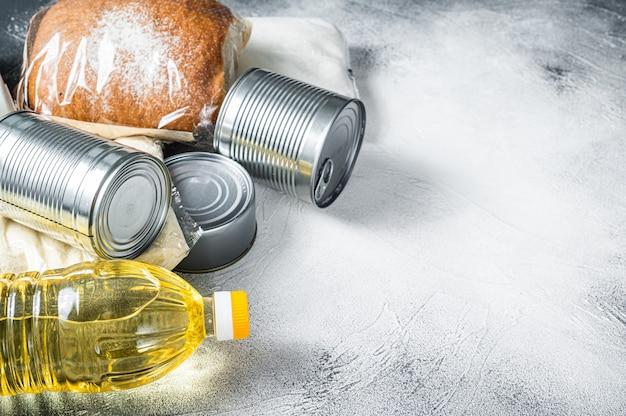Doação de bens alimentares, conceito de quarentena de ajuda