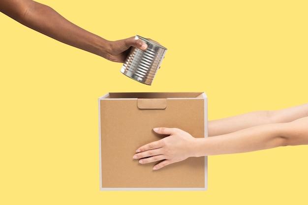 Doação de comida enlatada para campanha de caridade