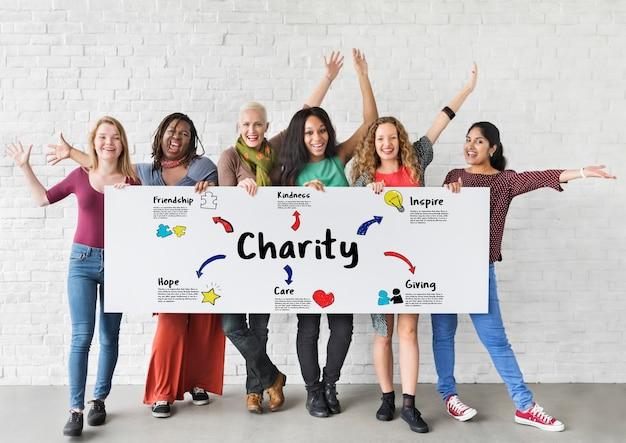 Doações de caridade ajudam a apoiar o conceito de comunidade de doações