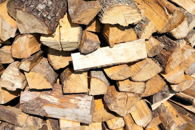 Dobrados em uma pilha de toras picadas, necessárias para acender o forno da casa.