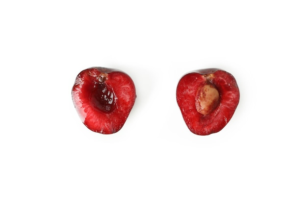 Doce cereja vermelha isolada no fundo branco Foto Premium