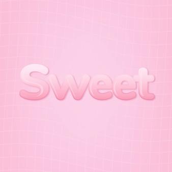 Doce em palavras no estilo de texto de chiclete rosa