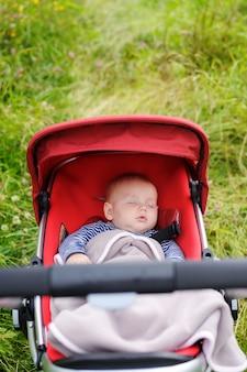 Doce pequeno menino dormindo no carrinho