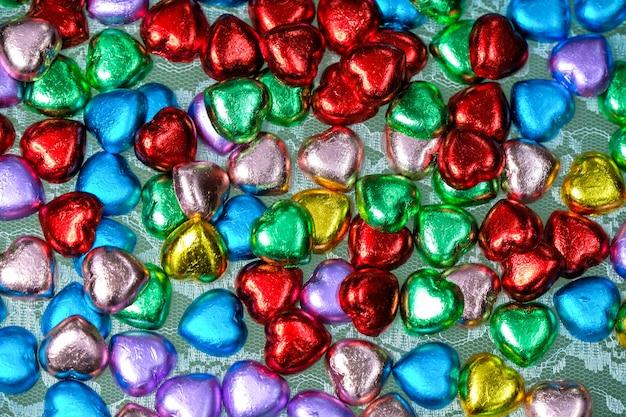 Doces de chocolate em forma de coração