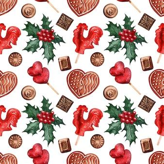 Doces de férias de natal padrão aquarela