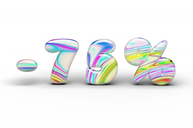 Doces doces multi-colored desconto palavra de 75% em um branco isolado