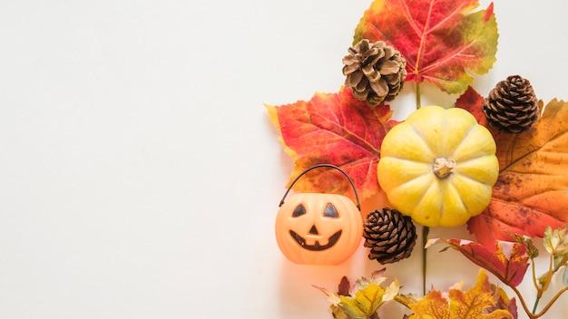 Doces ou travessuras balde perto de símbolos de outono