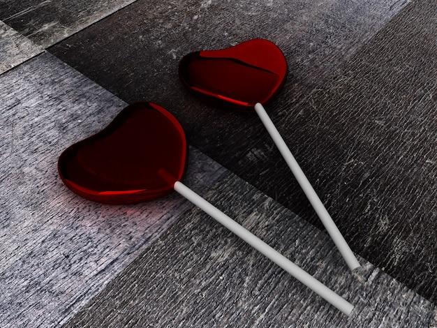 Doces vermelhos no palito na mesa de madeira. renderização 3d de dois doces