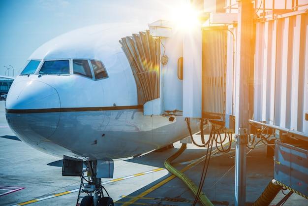 Docked airplane jet bridge
