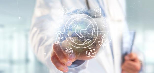 Docotor, segurando, um, globo mundial, surronding, por, ecologia, ícones, e, conexão