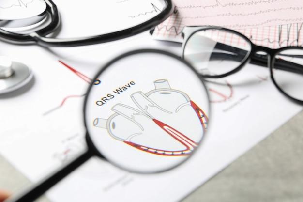 Documentos médicos com lupa e eletrocardiograma