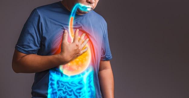 Doença do refluxo gastroesofágico preto e branco, conceito de raio-x da doença.