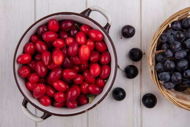 Dogwood de cima em uma panela com cerejas e uvas pretas em uma cesta em um fundo branco