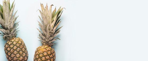 Dois abacaxis maduros inteiros e a sombra de folhas de palmeira em um fundo claro