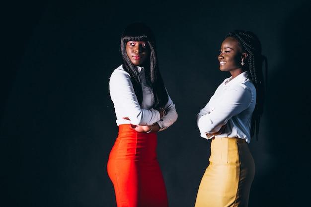 Dois, afro, mulheres americanas, em, estúdio