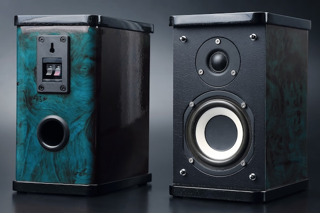 Dois alto-falantes estéreo em fundo escuro. equipamento de som