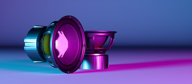 Dois alto-falantes lado a lado na luz de néon, ilustração 3d
