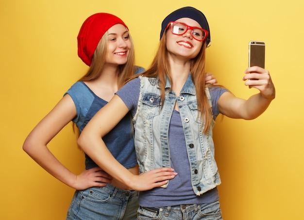 Dois amigos de meninas jovens hipster tomando selfie