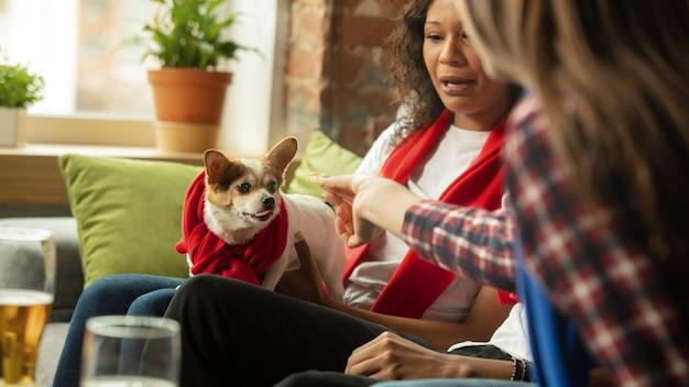 Dois amigos sentados no sofá alimentando um cachorro.