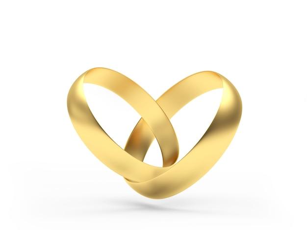 Dois anéis de ouro conectados em forma de coração