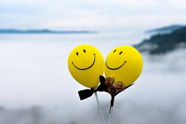 Dois balões sorriem e adoram o céu, adorável