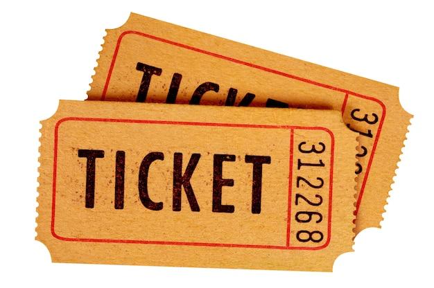 Dois bilhetes de cinema antigos isolados