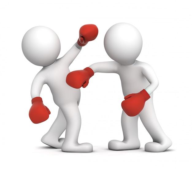 Dois boxeadores durante a luta de boxe