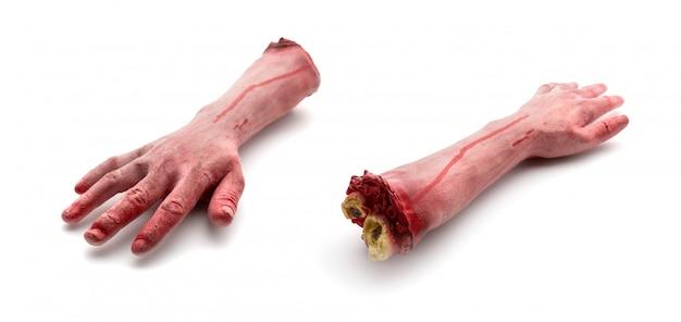 Dois braços humanos artificiais sangrentos