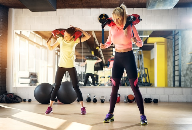 Dois cabem garotas fortes em uma academia, preparando-se para um treinamento com pesos.