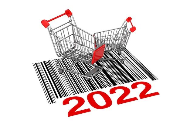 Dois carrinhos de compras vazios sobre o código de barras abstrato com o novo sinal do ano 2022 em um fundo branco. renderização 3d