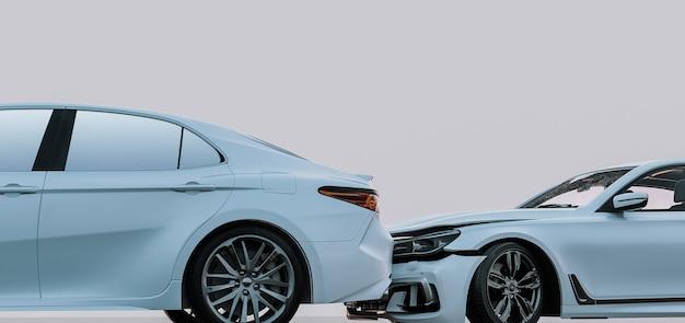 Dois carros na estrada após a colisão. carro branco danificado na estrada após o acidente. 3d render e ilustração.