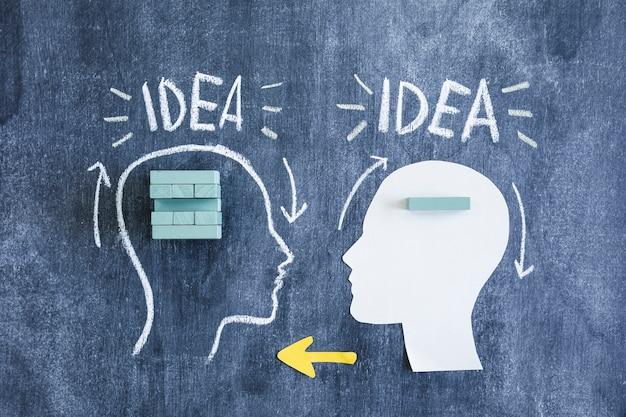 Dois cérebros trocando a transferência de informação com blocos de madeira e setas na lousa