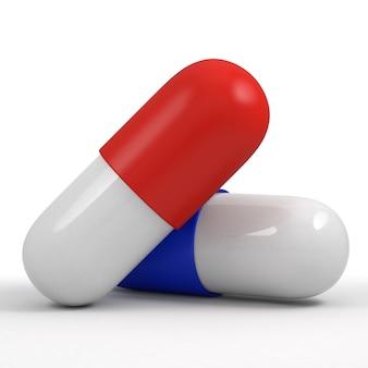 Dois comprimidos, vermelho e azul