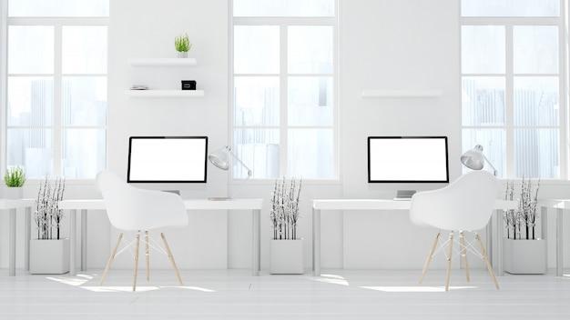 Dois computadores estúdio coworking