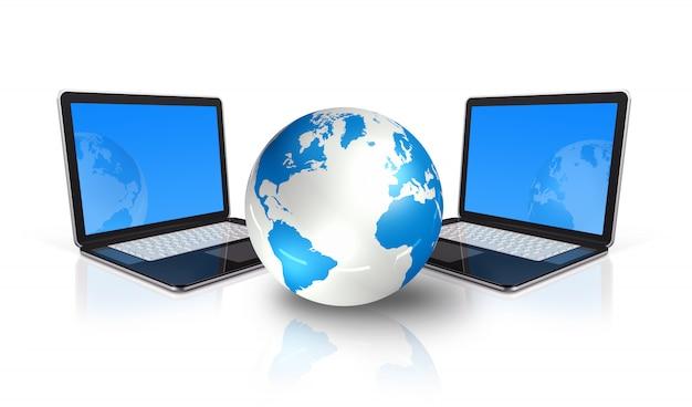 Dois computadores portáteis 3d em torno de um globo do mundo isolado no branco