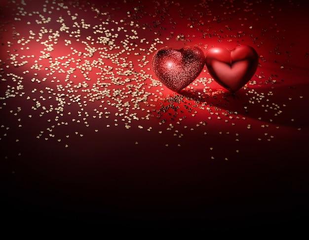 Dois corações e confetes dourados sobre um fundo vermelho escuro com espaço de cópia. cartão de dia dos namorados.