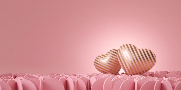 Dois corações rosa com listras de ouro