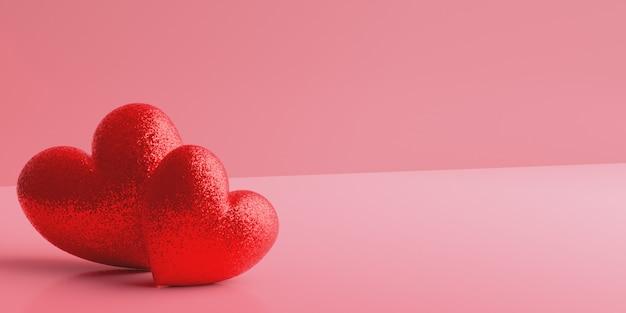 Dois corações vermelhos brilhantes sobre um fundo gradiente rosa. dia dos namorados
