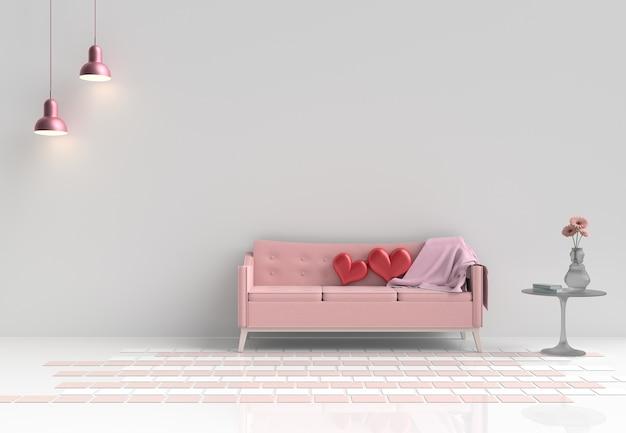 Dois corações vermelhos no sofá cor-de-rosa na decoração branca da sala de visitas com flor, lâmpada dia do `s do valentim.