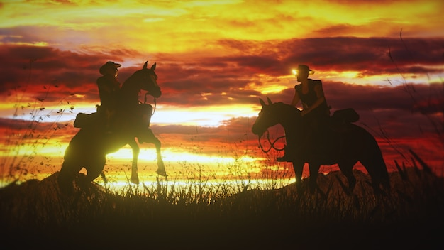 Dois cowboys a cavalo em um pôr do sol deslumbrante no oeste selvagem.