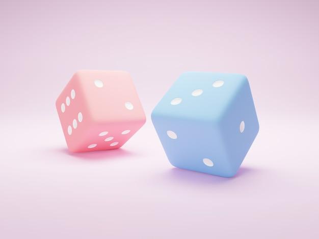 Dois dados no backgroundpnk rosa e nos dados azuis ilustração 3d render