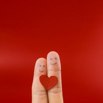 Dois dedos, pintado, com, faces felizes