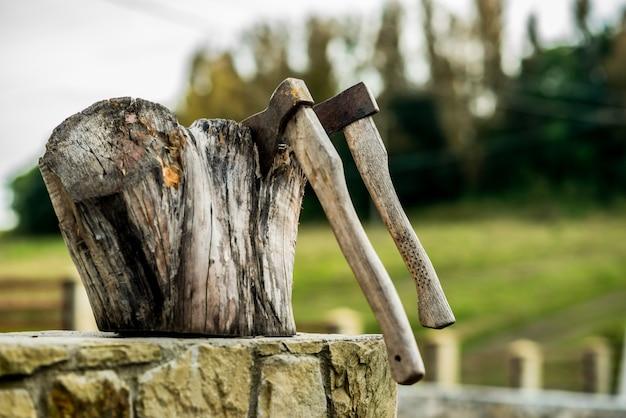 Dois eixos presos no tronco de madeira de uma árvore. cena rural.