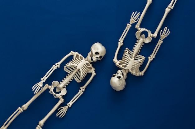 Dois esqueletos falsos no clássico azul escuro. decoração de halloween, tema assustador