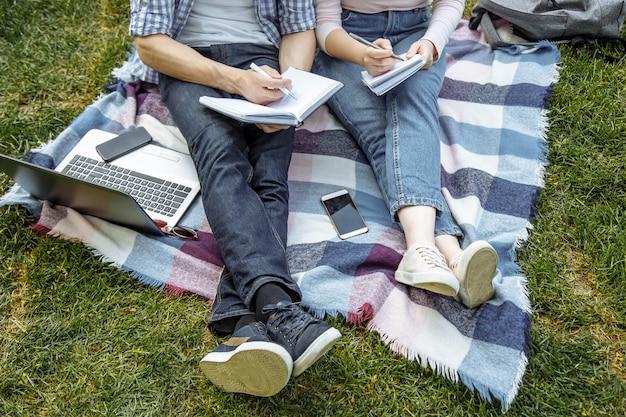 Dois estudantes estão se preparando para o seminário sentado na grama